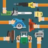 Предпосылка инструментов построителей современная плоская с рукой Стоковые Фото