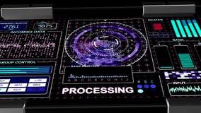 Предпосылка интерфейса HUD футуристическая технологическая - голубая гамма иллюстрация вектора