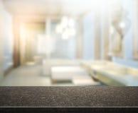 Предпосылка интерьера столешницы и нерезкости Стоковое фото RF