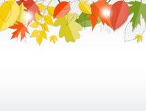 Предпосылка листьев сияющей осени естественная вектор Стоковая Фотография