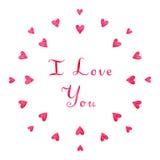 Предпосылка и карточка вектора сердца акварели розовые я тебя люблю Стоковые Изображения