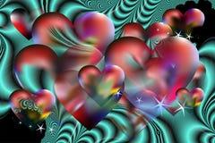 Предпосылка и фрактали валентинки иллюстрация вектора