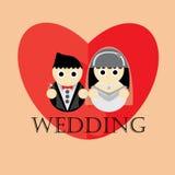 Предпосылка иллюстрации шаржа свадьбы Стоковая Фотография