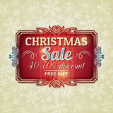 Предпосылка и ярлык рождества с предложением продажи Стоковые Изображения