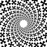 Предпосылка, картина, черно-белая спиральная картина Круглая центризованная иллюстрация полутонового изображения Крест, диаграмма Стоковое Изображение RF