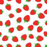 Предпосылка картины вектора красочной клубники безшовная еда здоровая Картина лета плодоовощ, красочная печать для дизайна Стоковые Изображения