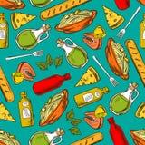 Предпосылка картины еды безшовная Еда и специи иллюстрация вектора