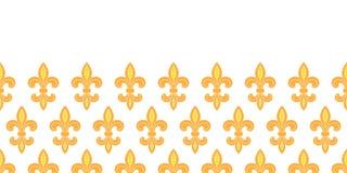Предпосылка картины золотой лилии горизонтальная безшовная Стоковая Фотография RF
