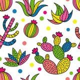Предпосылка картины кактуса безшовная Стоковые Изображения RF