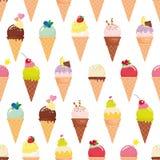 Предпосылка картины конуса мороженого безшовная реалистическо Яркий и пастельный цвет Изолировано на белизне Добавленный в образц иллюстрация штока