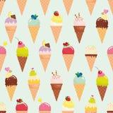 Предпосылка картины конуса мороженого безшовная реалистическо Яркий и пастельный цвет Для печати и сети иллюстрация штока