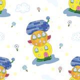 Предпосылка картины образца шуточная Дом сказки красочный милый в стиле шаржа Стоковое Изображение
