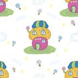 Предпосылка картины образца шуточная Дом сказки красочный милый в стиле шаржа Стоковые Фотографии RF