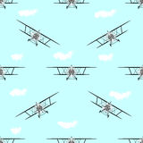 Предпосылка картины самолет-биплана безшовная иллюстрация штока