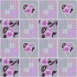 Предпосылка картины текстуры заплатки ретро checkered флористическая Стоковая Фотография RF