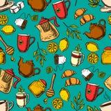 Предпосылка картины травяного чая безшовная иллюстрация штока