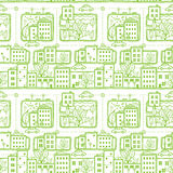 Предпосылка картины улиц города Doodle безшовная Стоковое Изображение