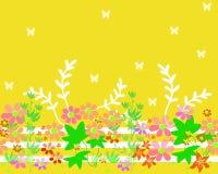 Предпосылка картины цветков безшовного шаржа горизонтальная Стоковое Изображение