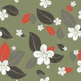 Предпосылка картины цветков листьев безшовная также вектор иллюстрации притяжки corel Стоковое фото RF
