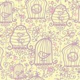 Предпосылка картины birdcages Doodle безшовная иллюстрация вектора