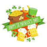 Предпосылка карточки дня St. Patrick в плоском дизайне Стоковое Фото