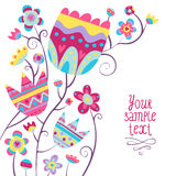 Предпосылка карточки с красочными цветками Стоковое Фото