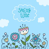 Предпосылка карточки с цветками doodle Стоковое Фото