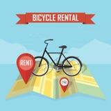 Предпосылка карты проката велосипедов вектора Стоковая Фотография