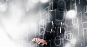 Предпосылка кибернетического преступления компьютерного хакера бинарная абстрактная Стоковые Фото