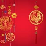 Предпосылка китайского года петуха декоративная иллюстрация штока