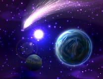 Предпосылка кометы вектора Стоковые Изображения RF