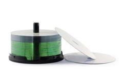 Предпосылка компакт-диска изолированная комплектом белая Стоковое фото RF