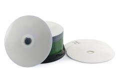 Предпосылка компакт-диска изолированная комплектом белая Стоковые Фото