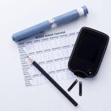 Предпосылка комплекта управления диабета Стоковые Фотографии RF