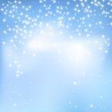 Предпосылка конспекта голубого неба с облаками и звездами Волшебный Новый Год, предпосылка стиля события рождества Стоковое Изображение RF