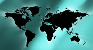 Предпосылка конспекта зеленого цвета карты мира мягкая Стоковая Фотография RF