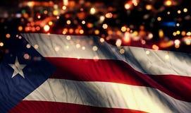 Предпосылка конспекта Bokeh ночи света национального флага Пуэрто-Рико Стоковое Фото