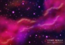 Предпосылка космоса с звездами и межзвёздным облаком иллюстрация штока