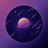 Предпосылка космоса с красочными планетой и метеором стоковая фотография rf