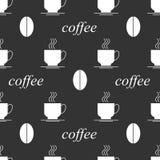 Предпосылка кофе безшовная черно-белая Стоковая Фотография RF