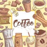 Предпосылка кофе нарисованная рукой с кофейной чашкой, циннамоном и шоколадом Еда и питье иллюстрация вектора