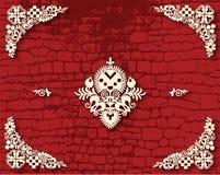 Предпосылка красного кирпича с цветками фольклора Стоковое Изображение