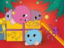 Предпосылка красного цвета рождественской елки подарочной коробки 4 милая извергов Стоковая Фотография
