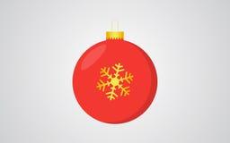 Предпосылка красного цвета шарика рождества ретро голубая с золотым украшением снежинки иллюстрация вектора