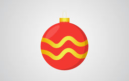 Предпосылка красного цвета шарика рождества ретро голубая с золотым украшением волны Стоковое Фото