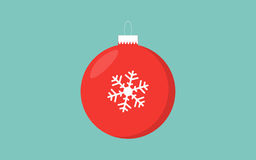 Предпосылка красного цвета шарика рождества ретро голубая с снежинкой иллюстрация вектора