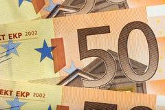 Предпосылка 50 кредиток евро Стоковое Изображение RF