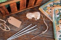 Предпосылка крюка пряжи вязания крючком и вязания крючком Стоковое Изображение RF