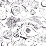 Предпосылка кухни гуакамоле иллюстрация вектора