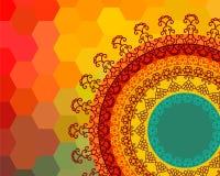 Предпосылка мандалы хны цвета Стоковая Фотография RF